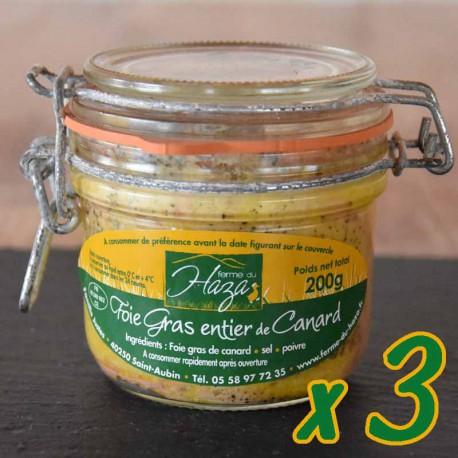 Lot de 3 bocaux de 200 g - Foie gras de canard entier